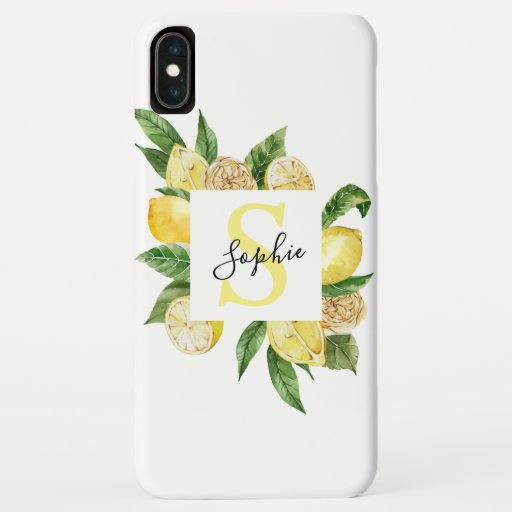 Modern Yellow Lemons Frame & Leaves With Name iPhone XS Max Case