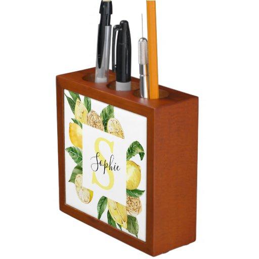 Modern Yellow Lemons Frame & Leaves With Name Desk Organizer