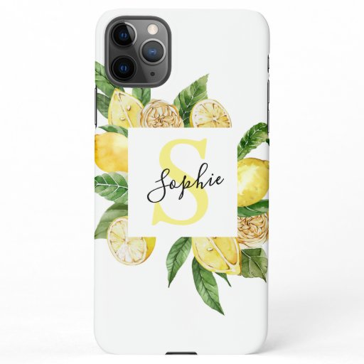 Modern Yellow Lemons Frame & Leaves With Name iPhone 11Pro Max Case