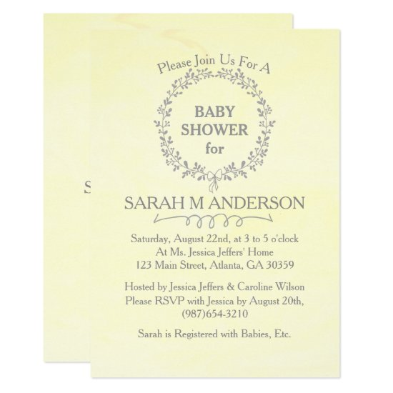 Modern Yellow Nature Floral Frame Baby Shower Card