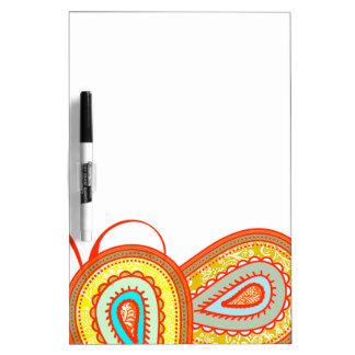 Modern Yellow Orange Aqua Mint Paisley Gifts Dry Erase Board