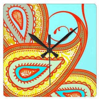 Modern Yellow Orange Aqua Mint Paisley Gifts Square Wall Clock
