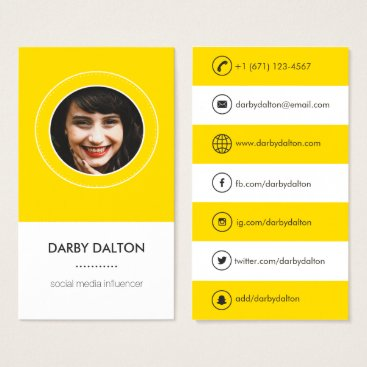 Professional Business Modern Yellow Photo Social Media Business Card
