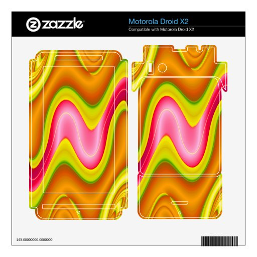 modern yellow pink abstract motorola droid x2 decals