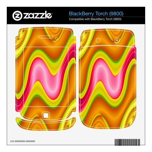 modern yellow pink abstract BlackBerry decals