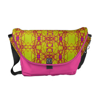 Modern yellow pink laced design courier bag
