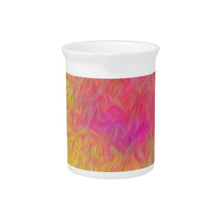 Modern Yellow Pink Rose Abstract Explosion Pitcher