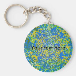 Modern yellow psychedelic on blue background basic round button keychain