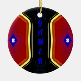 Modern Yellow Red Blue 'Gamer' Artistic Design Ceramic Ornament