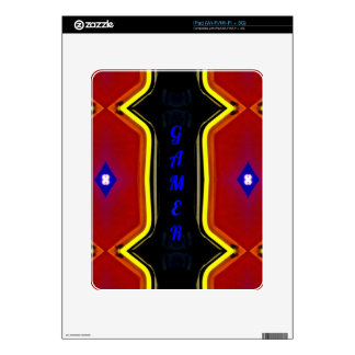 Modern Yellow Red Blue 'Gamer' Artistic Design iPad Skins