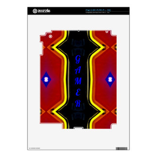 Modern Yellow Red Blue 'Gamer' Artistic Design Skin For iPad 2