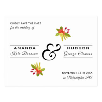Modern Yellow Salmon Floral Wedding Save the Date Postcard