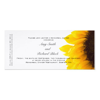 Modern Yellow Sunflower Rehearsal Dinner Card