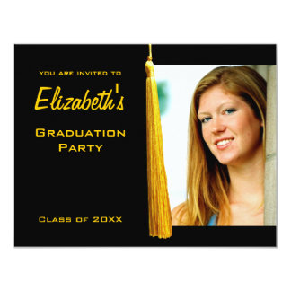 Modern Yellow Tassle Graduation Party Photo Invite