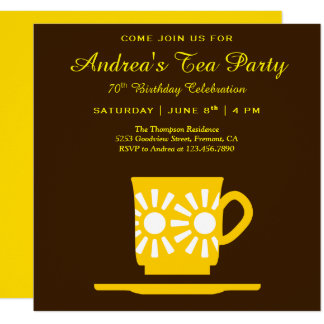 Modern Yellow Tea Cup | Brown Birthday Tea Party Card