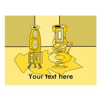 Modern yellow vases postcard