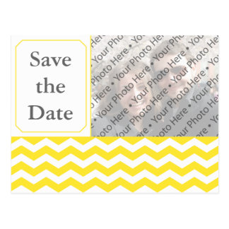 Modern Yellow Wedding Save the Date Photo PostCard
