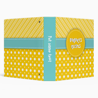 Modern yellow, white, aqua polka dot & stripes binder