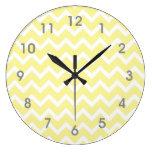 Modern Yellow White Chevron Clock - gray numbers