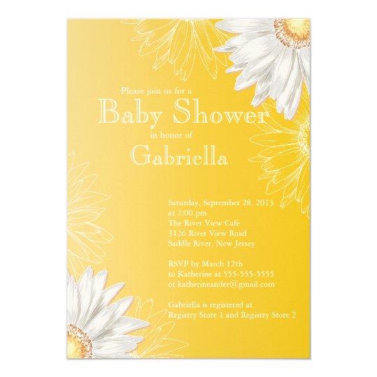 Modern Yellow & White Gerbera Daisy Baby Shower Invitation