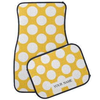 Modern Yellow White Polka Dots Pattern Car Mat