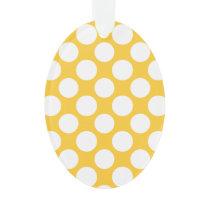 Modern Yellow White Polka Dots Pattern Ornament