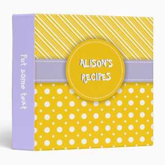 Modern yellow, white, purple polka dot & stripes binder