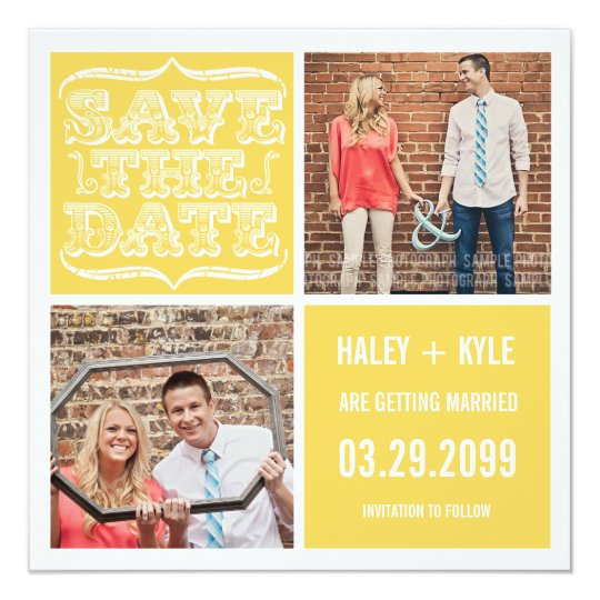Modern Yellow & White Save the Date Photo Cards