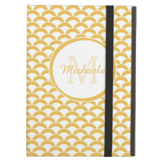 Modern Yellow White Scallop With Monogram and Name Case For iPad Air