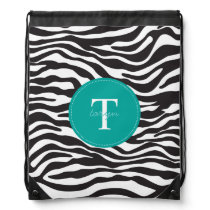 Modern Zebra Monogram Drawstring Backpack
