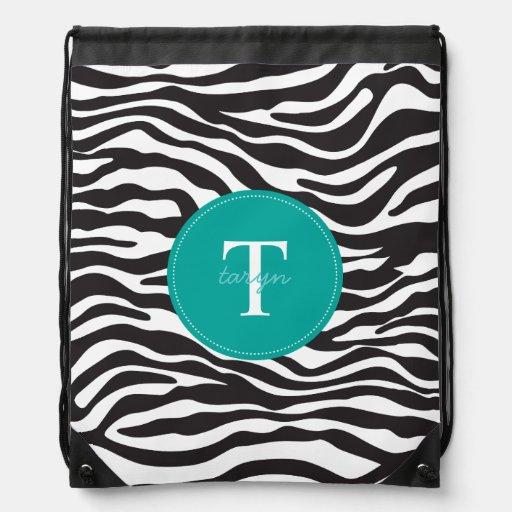 Modern Zebra Monogram Drawstring Backpack