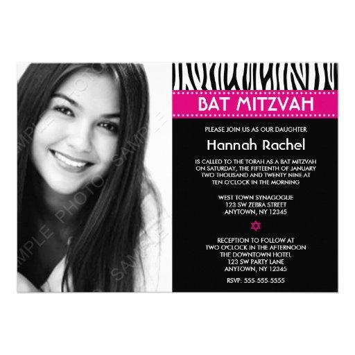 Modern Zebra Pink Photo Bat Mitzvah Invitations