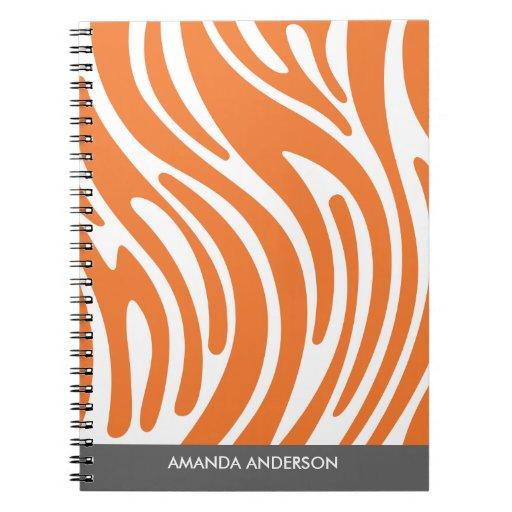 Modern Zebra Print - Orange Personalized Notebook