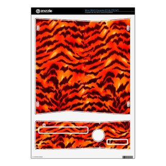 Modern Zebra Print Pattern Black Gold Tangerine Decal For Xbox 360 S