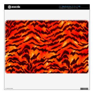 Modern Zebra Print Pattern Black Gold Tangerine Skin For MacBook Air