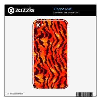Modern Zebra Print Pattern Black Gold Tangerine Skins For iPhone 4