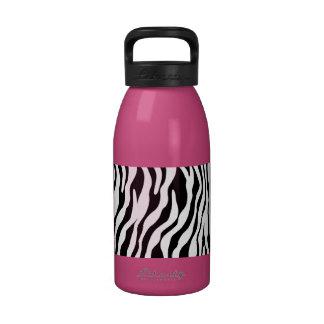 Modern Zebra Print Pink Water Bottle
