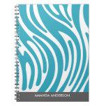 Modern Zebra Print - Teal Personalized Notebook
