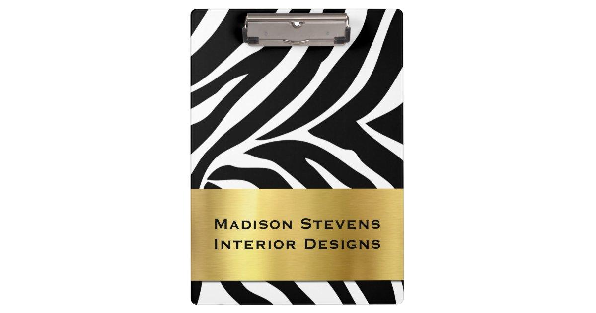 Modern Zebra Print with Gold Clipboard | Zazzle