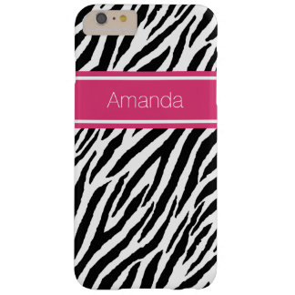 Modern Zebra Print With Pink Stripe and Name Barely There iPhone 6 Plus Case