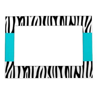 Modern Zebra Teal Blue Stripe Magnetic Picture Frame