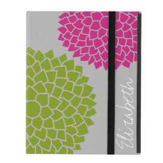 Modern Zen Flowers - Pink Green Gray iPad Cover
