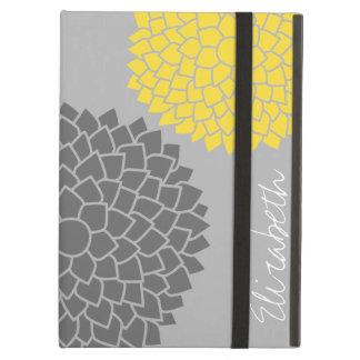 Modern Zen Flowers - Yellow Gray iPad Air Covers