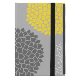 Modern Zen Flowers - Yellow Gray iPad Mini Case