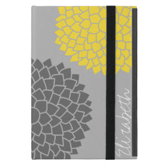 Modern Zen Flowers - Yellow Gray iPad Mini Cover