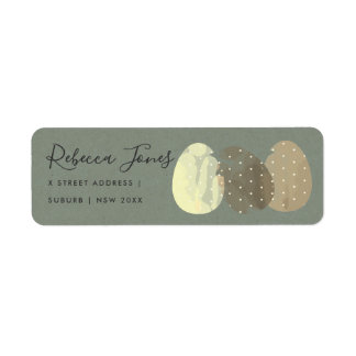 MODERN ZEN GREY WATERCOLOR EASTER EGGS ADDRESS LABEL