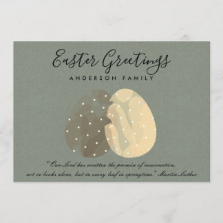MODERN ZEN GREY WATERCOLOR EASTER EGGS PERSONALISE HOLIDAY CARD