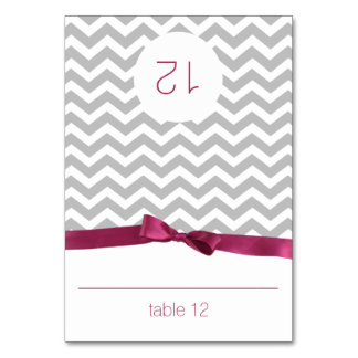 Modern Zig Zag and Berry Bow Seating Card