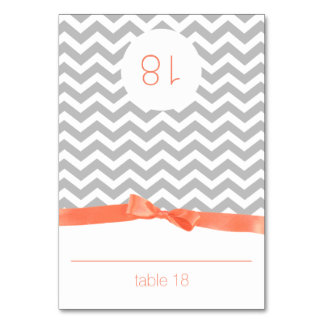 Modern Zig Zag and Coral Bow Seating Card