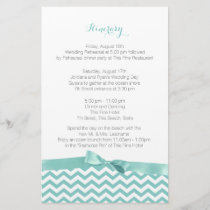 Modern Zig Zag Aqua and Grey Itinerary